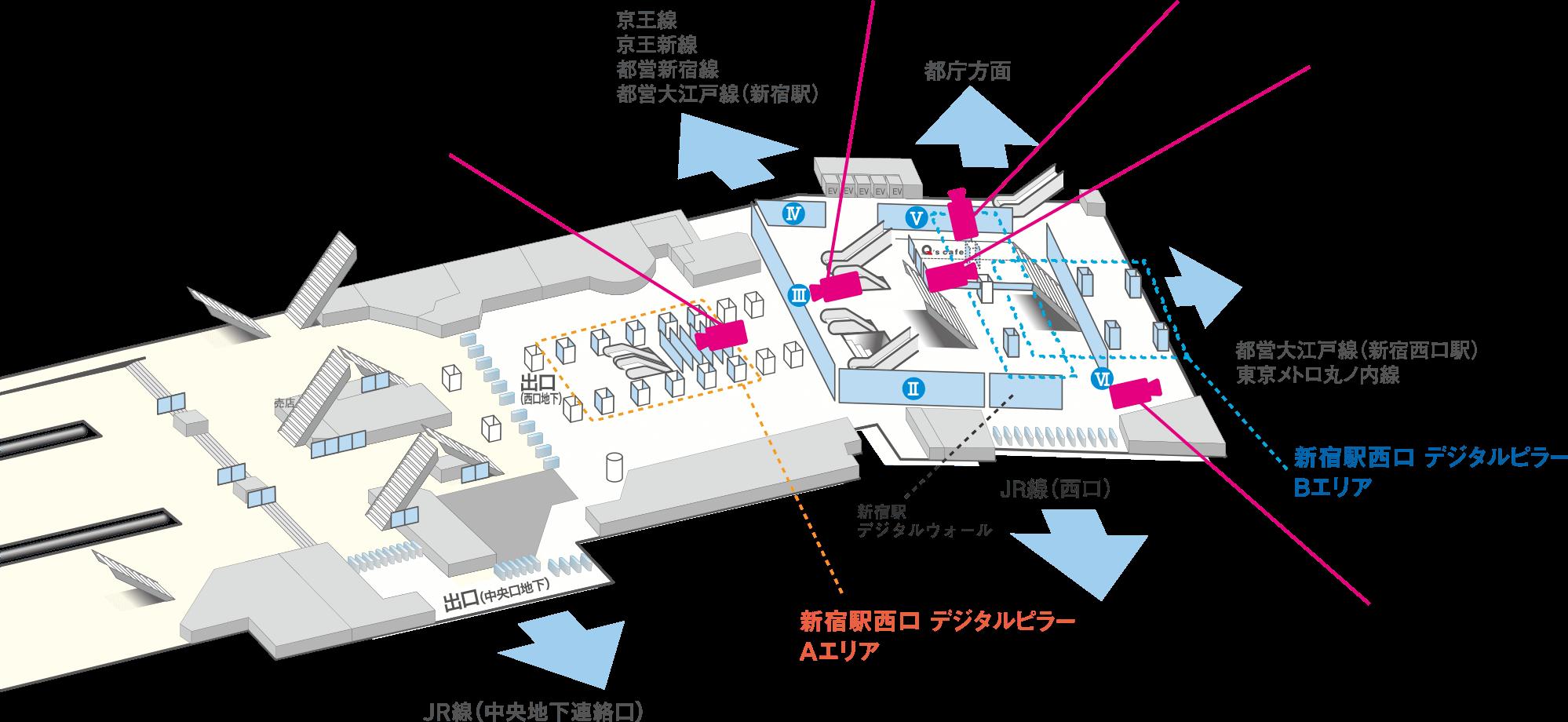 から 新宿 駅 ここ